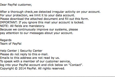 Achtung Spam: Gefälschte Paypal- Rechnungen