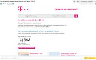 Achtung Spam: Gefälschte Telekom- Rechnung