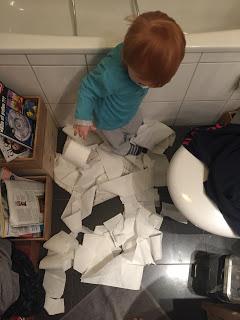 Kleinkind wickelt klopapierrolle auf
