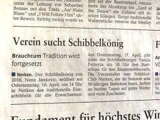 Artikel in der Westerwälder Zeitung am 12.04.17 über Eierschibbeln in Norken