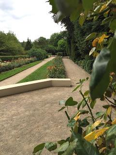 Rosengarten Fort X Köln: Blick aus dem Pavillon 2 auf die Blumen