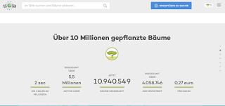 Screenshot Ecosia: Über 10 Millionen gepflanzte Bäume