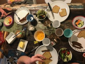 Backeskuchen Kartoffelbrot Tisch Abendessen