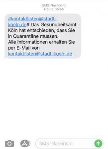 Quarantäne SMS des Gesundheitsamtes