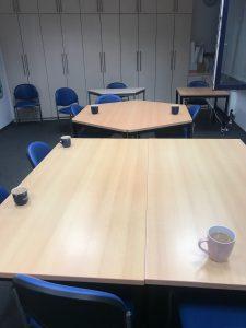 Arbeitsplatz Morgen Kaffee Team